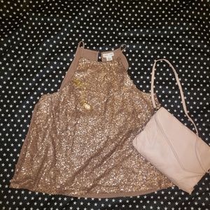 Clover & Scout Gold Sequin Covered Top